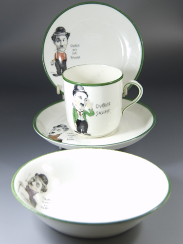 Paragon China Charlie Chaplin Cup, Saucer,Teaplate & Bowl (Sold)