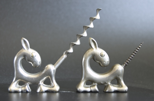 Pair of Art Deco Corkscrews formed as Stylised Donkeys