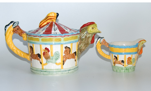 Melba Merry Go Round Novelty Tea Pot & Milk Jug
