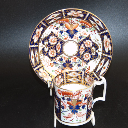 Early handpainted 19th C. Derby duo in the Japan pattern